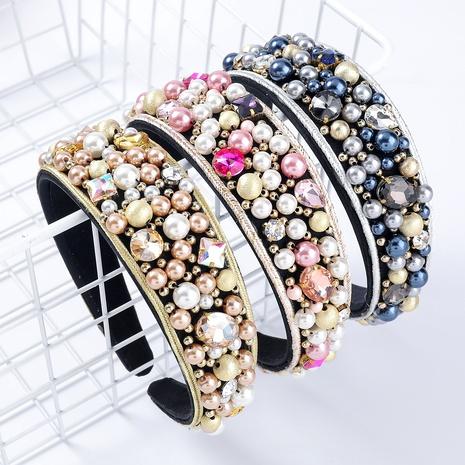 Diadema de perlas de imitación con incrustaciones de diamantes de franela de moda NHJE295054's discount tags