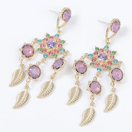 alloy rhinestone leaf earrings  NHJE295055's discount tags