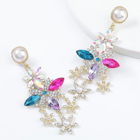 alloy rhinestone imitation pearl snowflake earrings  NHJE295060's discount tags