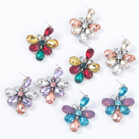 pendientes de flores de diamantes de imitación de aleación NHJE295061's discount tags