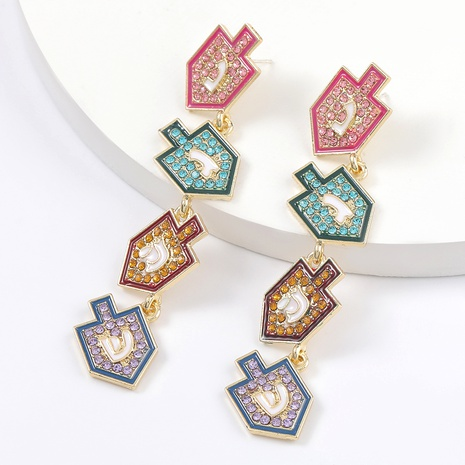 alloy diamond-studded earrings  NHJE295063's discount tags