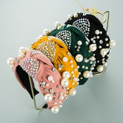 diadema de diamantes de perlas de ala ancha de moda NHLN295099