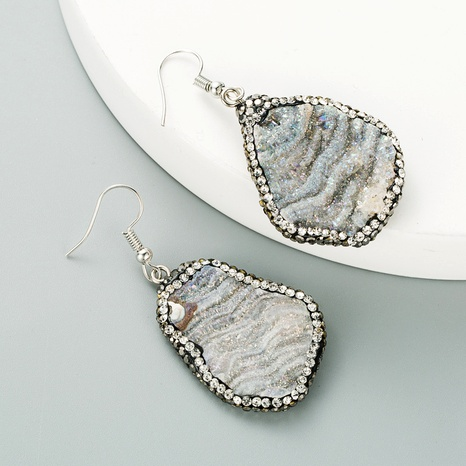 gray natural stone diamond earrings NHLN295108's discount tags