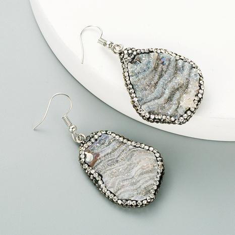 pendientes de diamantes de piedra natural gris NHLN295108's discount tags