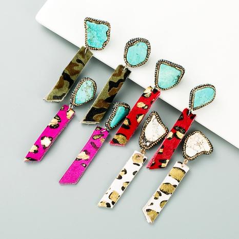 leopard print leather irregular diamond earrings NHLN295110's discount tags