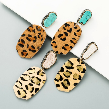 leather leopard print bronzing earrings  NHLN295111's discount tags
