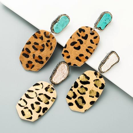 pendientes bronceados de piel con estampado de leopardo NHLN295111's discount tags