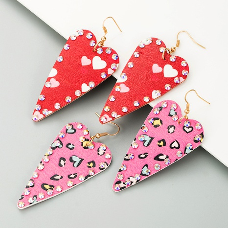 heart-shaped leather earrings  NHLN295112's discount tags