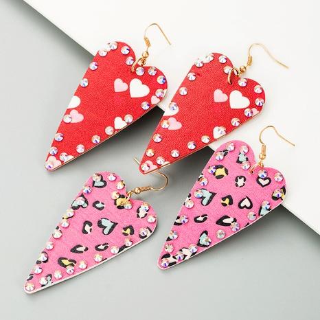 aretes de cuero con forma de corazón NHLN295112's discount tags