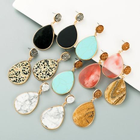 pendientes retro de piedra natural en forma de gota NHLN295113's discount tags