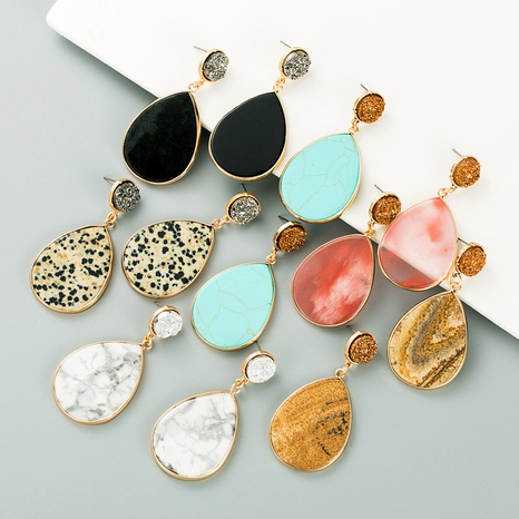 drop-shaped natural stone retro earrings NHLN295113's discount tags