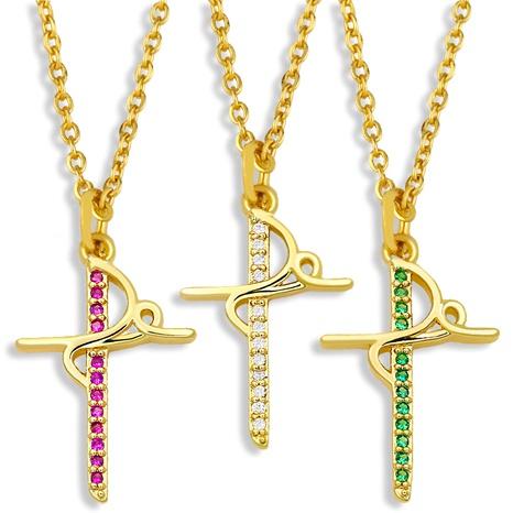 collar sencillo de circonitas con incrustaciones de cruz NHAS295121's discount tags