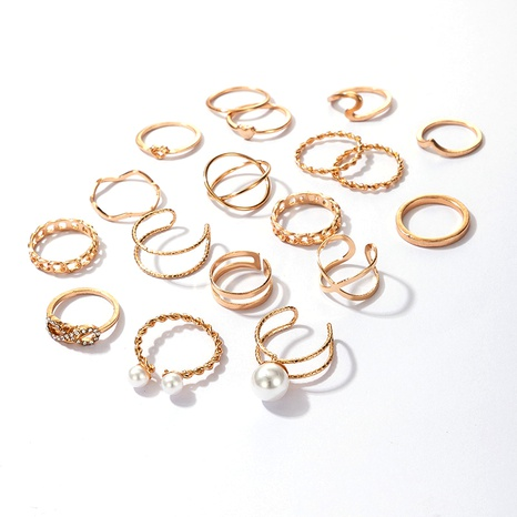 simple fashion pearl open rings 18-piece set  NHGY295173's discount tags