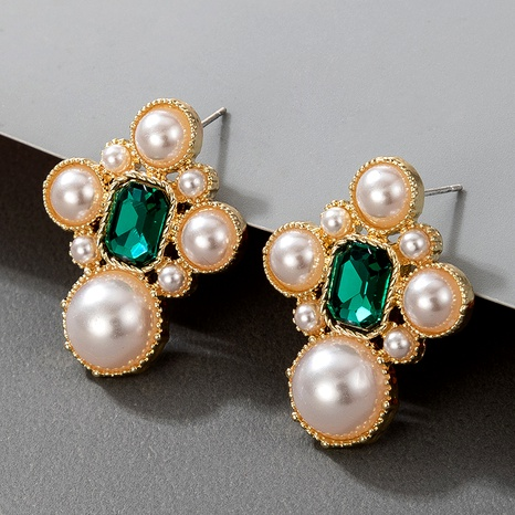 fashion retro green crystal earrings  NHGY295175's discount tags