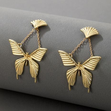 Retro metal fan-shaped butterfly earrings NHGY295179's discount tags