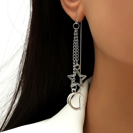 Bohemian star moon chain earrings NHLA295299's discount tags