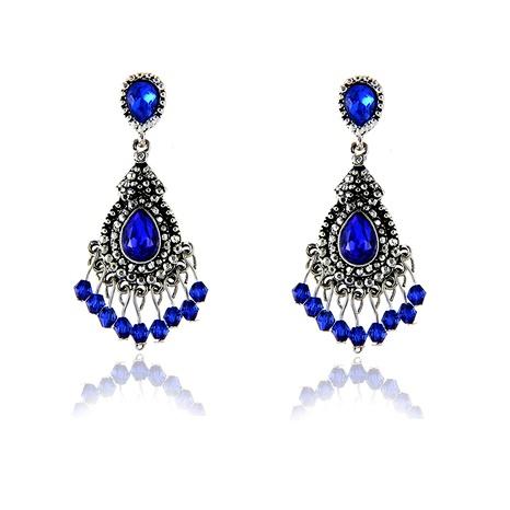 retro drop-shaped crystal pendant earrings NHPF295302's discount tags
