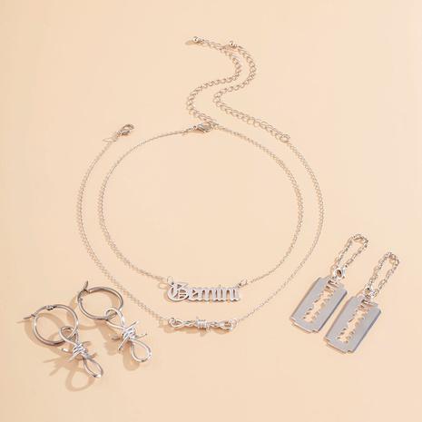 boucles d'oreilles à boucle à chaîne irrégulière ensemble de collier simple lettre NHXR295308's discount tags