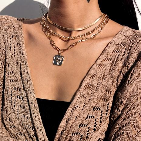 collar de cadena de serpiente plana cruzada con borla simple NHXR295312's discount tags