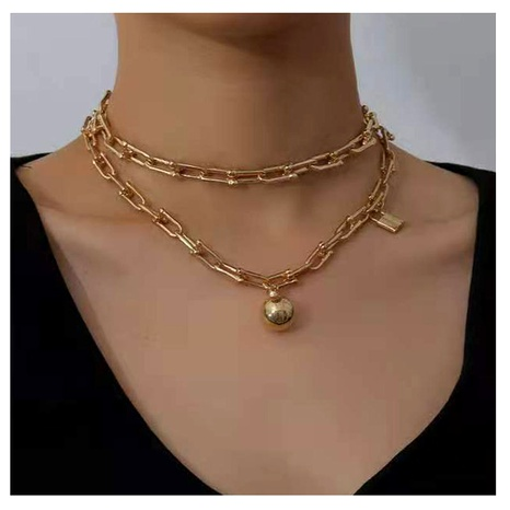 alloy lock-shaped ball pendant double-layer bamboo chain necklace NHCT295321's discount tags