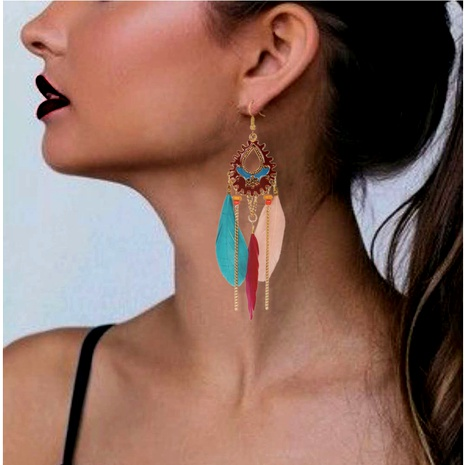 fashion alloy feather earrings  NHCT295323's discount tags
