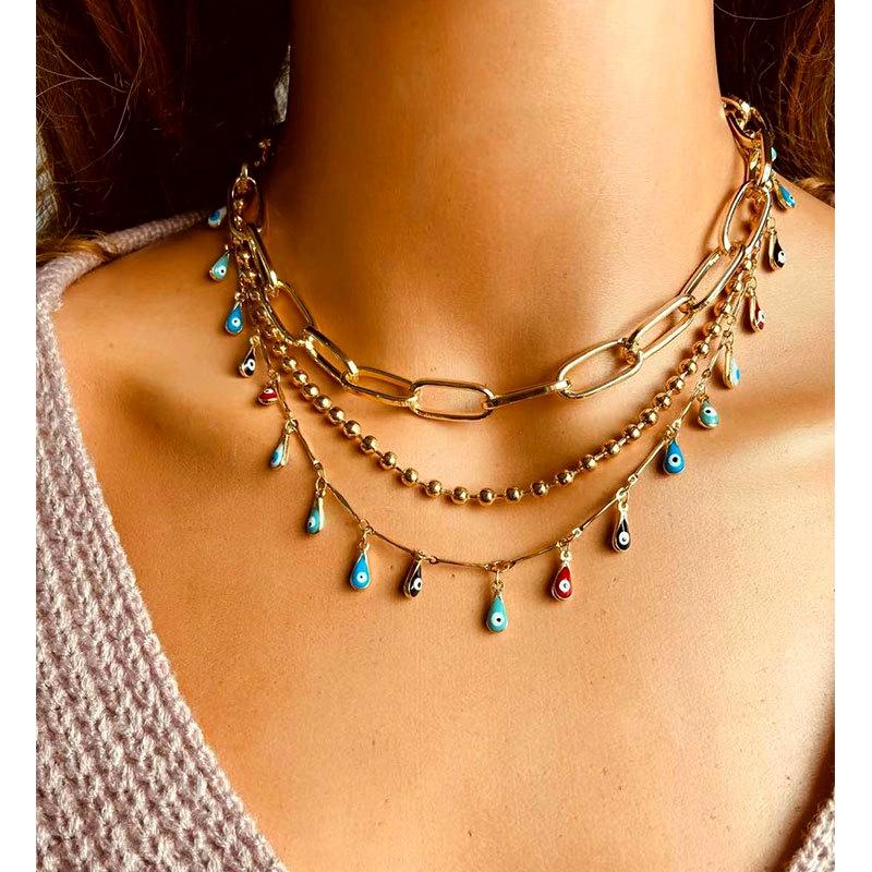 fashion devil eye chain eye pendant clavicle chain necklace NHCT295335