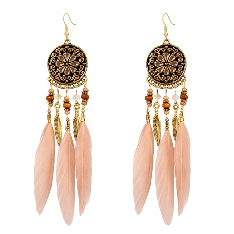 flower feather earrings  NHCT295339's discount tags