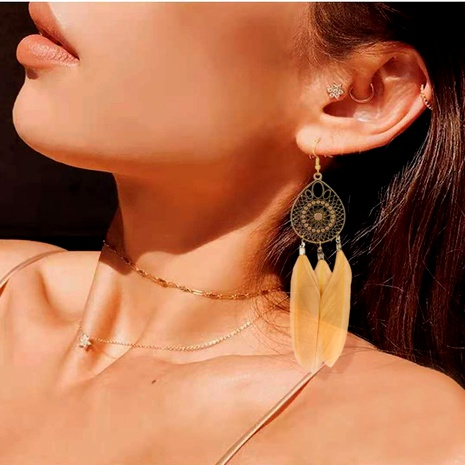 Bohemian fashion feather tassel earrings  NHCT295340's discount tags