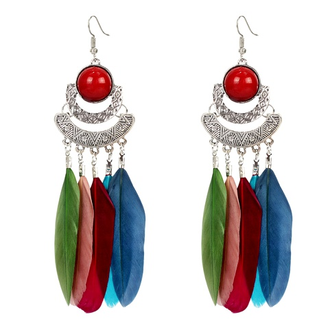 Retro long feather earrings  NHCT295341's discount tags