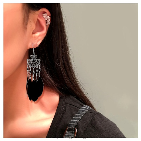simple feather tassel long earrings  NHCT295342's discount tags