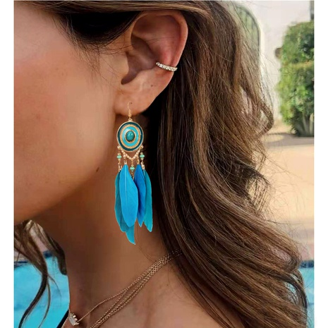 Bohemian fashion feather long earrings NHCT295343's discount tags