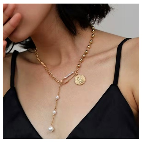 coin pin pearl splicing simple necklace NHCT295351's discount tags