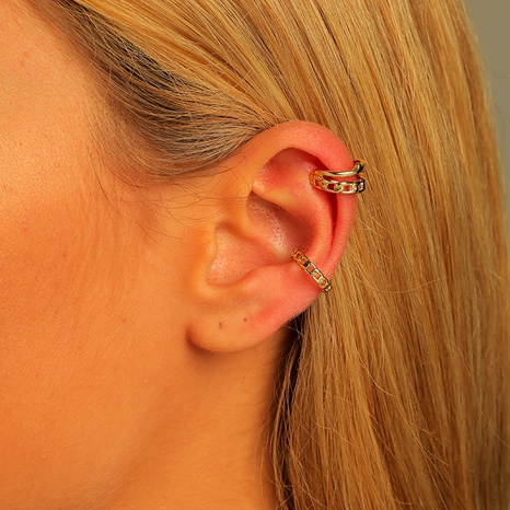 wholesale brass twist chain ear clip 2-piece set NHLU295361's discount tags