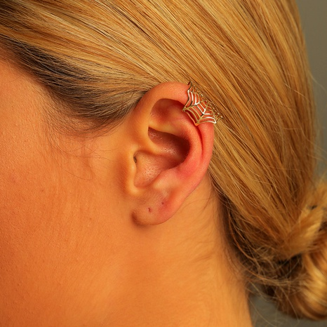 hollow copper spider web ear clip  NHLU295390's discount tags