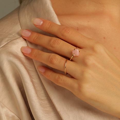 ensemble de bagues en cuivre à la mode en pierre rose naturelle NHLU295393's discount tags