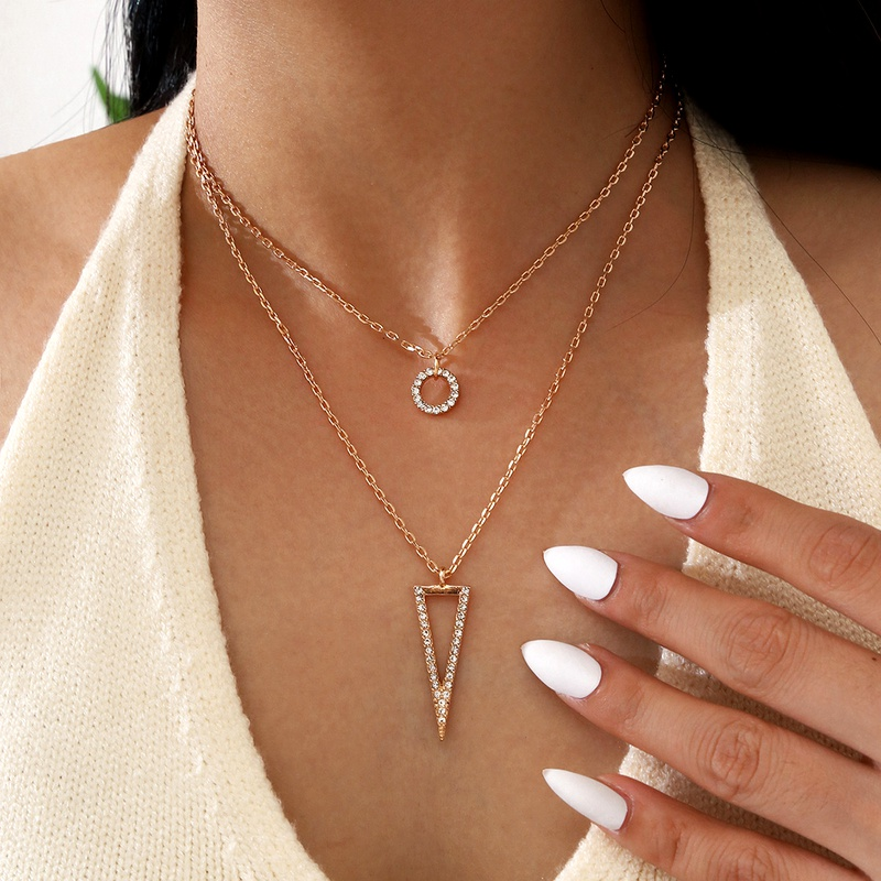 new circle rhinestone pendant women's double layer necklace NHPV295406