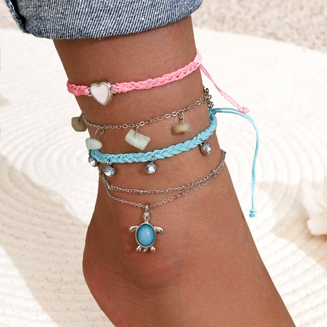 blue pink love tassel anklet 4-piece set NHPV295417's discount tags