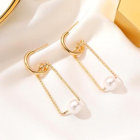 aretes rectangulares de perlas simples NHDP295426's discount tags