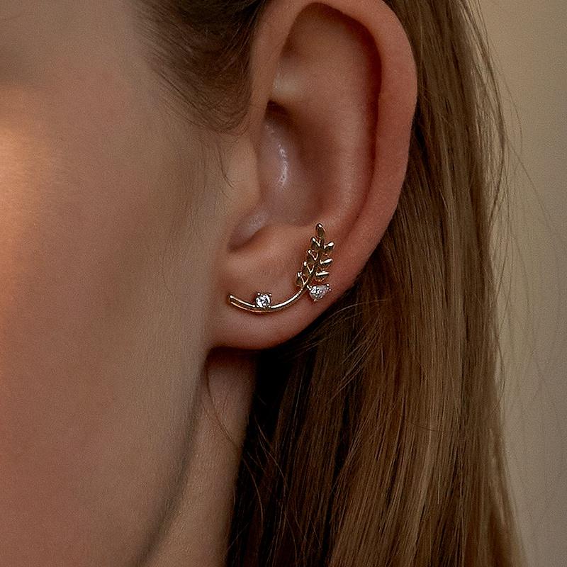 exquisite zircon wheat ear studs  NHDP295433