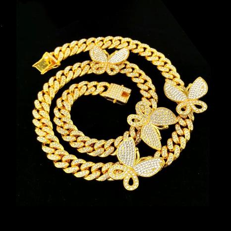 Venta caliente 50 CM collar de mariposa con incrustaciones de hip-hop micro NHQC295449's discount tags