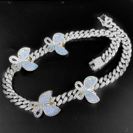Hot sale 50CM hip-hop micro inlaid butterfly Cuban necklace NHQC295448's discount tags