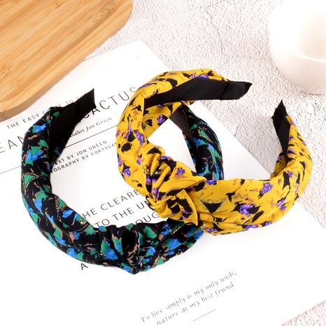 knotted wide-brimmed printing headband  NHAQ295478's discount tags