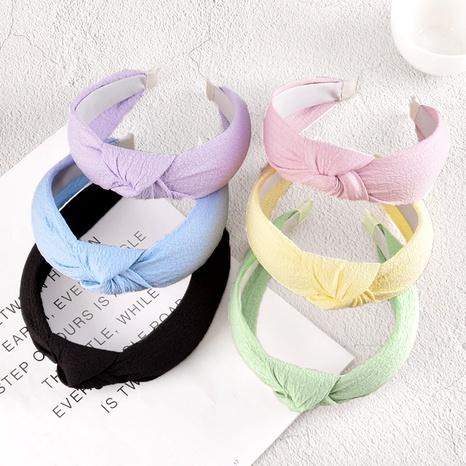 diadema anudada de lino y algodón color caramelo NHAQ295494's discount tags