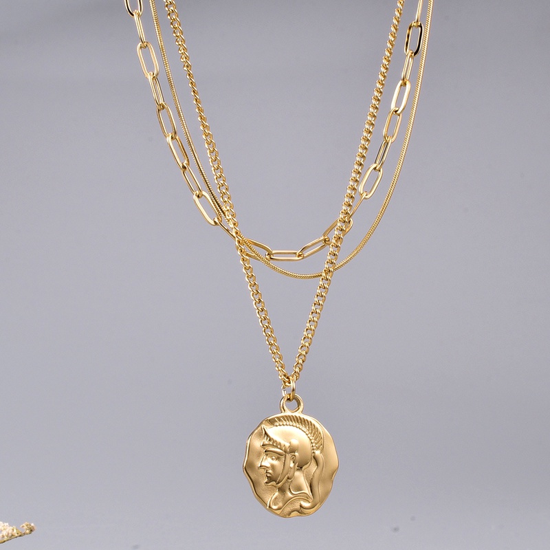 gold coin pendant three-layered necklace NHAB295578
