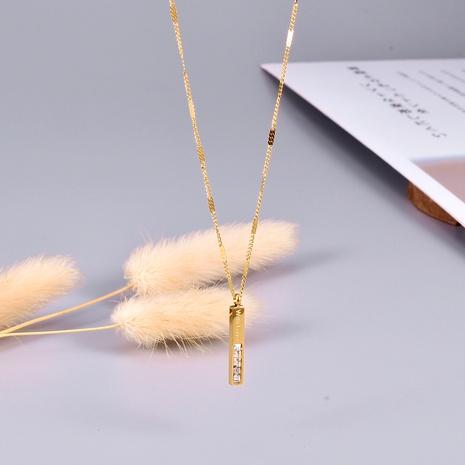 Collier lettre zircon en acier titane NHAB295580's discount tags