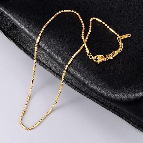 vergoldete Perlenkette aus Titanstahl NHAB295589's discount tags