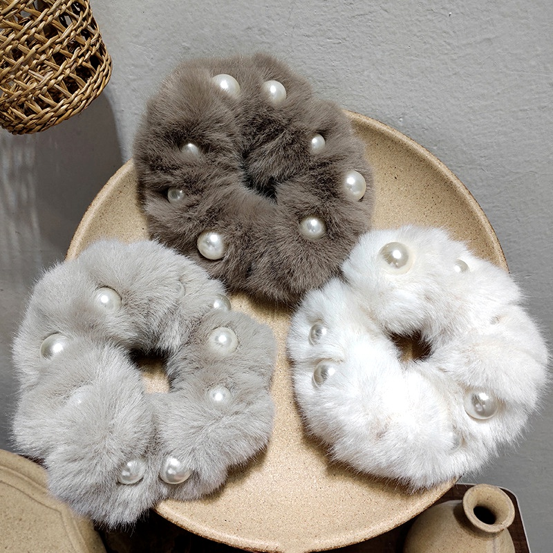 imitation rabbit fur hair scrunchies  NHAR295632