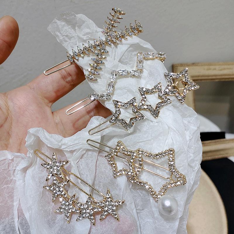 five-pointed star diamonds hair clip NHAR295647
