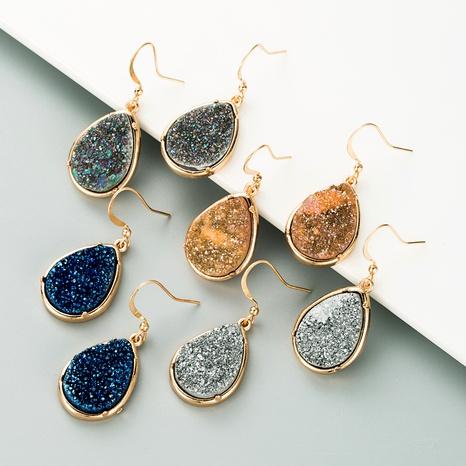 pendientes de cristal de piedra natural gris NHLN295678's discount tags