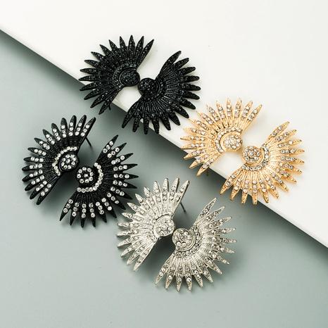 retro fan-shaped alloy rhinestone earrings NHLN295686's discount tags